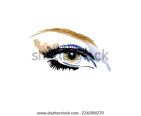Vector drawing of color eye with eyelashes and eyebrow on white background. - stock vector