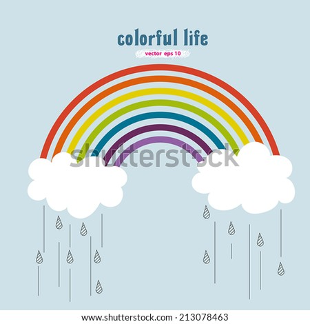vector drawing of colorful rainbow with clouds and rain drops over blue sky background. Red, orange, yellow, green, blue, indigo, purple color with colorful life meaning