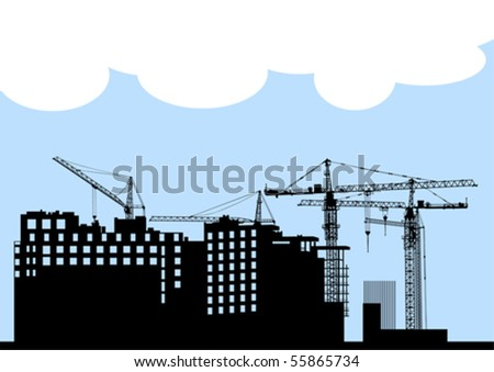 Vector drawing of construction of modern buildings and equipment - stock vector