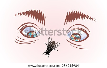 Vector drawing of eyes, eyebrows and typhoid fly on the face of human. Hand drawing. - stock vector
