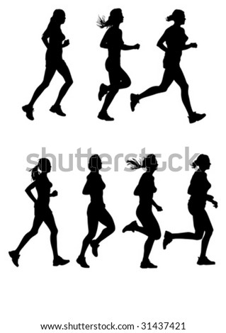 Vector drawing of female marathon. Silhouettes on a white background - stock vector