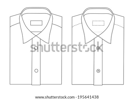 Vector drawing of folded shirt templates