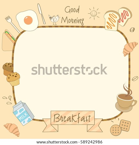 Vector Drawing Of Food And Drink Breakfast For Menu Template.  Breakfast Menu Template