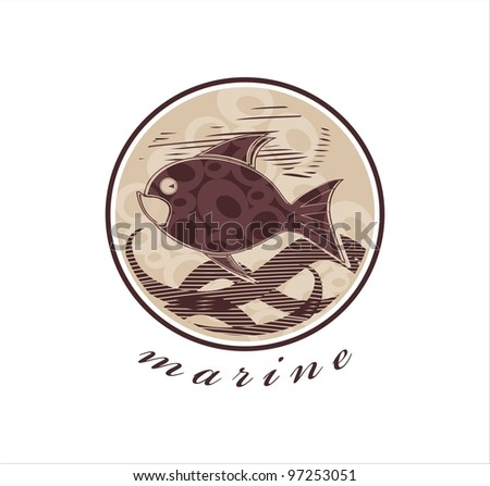 vector drawing of funny fish