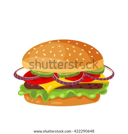 Vector drawing of hamburger with cheese, tomatoes, chop, lettuce, onion, cucumber in flat cartoon style. Illustration for design fast food menu. Hamburger isolated icons. Hamburger illustration.