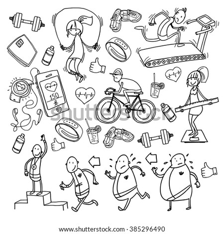 Vector drawing of hand-painted sports theme - stock vector