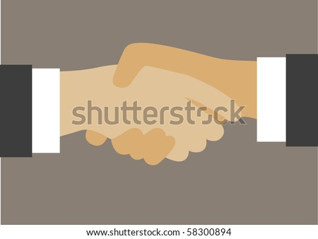 Vector drawing of hand shake between two well dressed businessman.