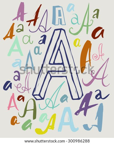 Vector drawing of handwritten letter A in variations of style and color - stock vector