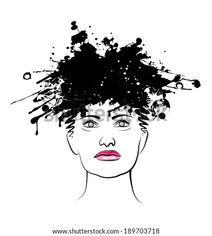 Vector drawing of head of the young woman with a fashionable coiffure. Ink Splatter Portrait. Ink blots. - stock vector