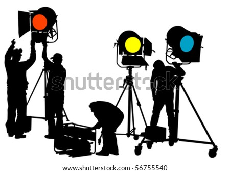 Vector drawing of lighting equipment on stage - stock vector