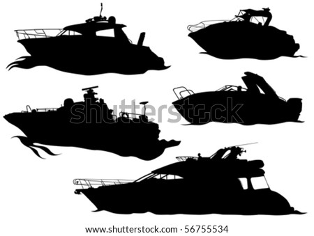 Vector drawing of marine boats. Silhouettes on white background