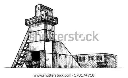 Coal Mining Drawings Vector Drawing of Mine