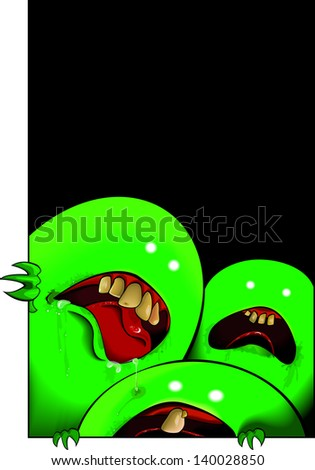 Vector drawing of monsters in your closet/ Monsters in the closet /  meshes blends and gradients used, easy to edit layers - stock vector