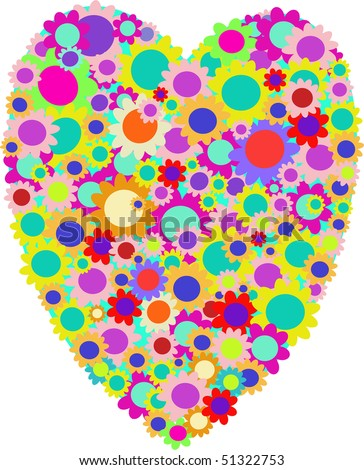 Vector drawing of multi-colored pastel flowers in a heart shape suitable for Valentine Day. On white.