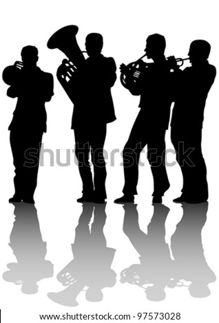 Vector drawing of old jazz orchestra - stock vector