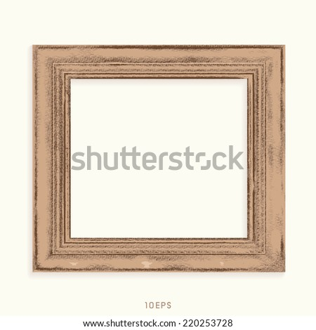 Vector drawing of old wooden frame - stock vector