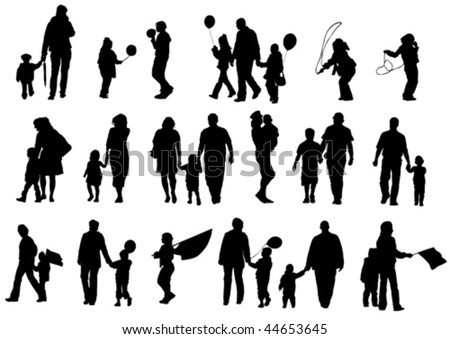Vector drawing of parents with children. Silhouettes on white background