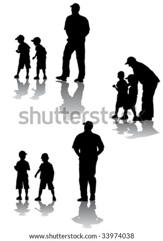 Vector drawing of parents with young children to walk