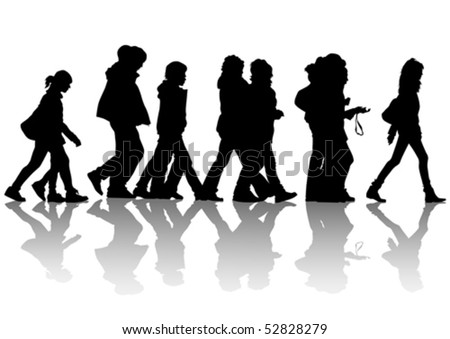 Vector drawing of pedestrians on the street. Silhouettes of people - stock vector