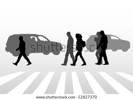 Vector drawing of people on street. Silhouettes of peoplе on street - stock vector
