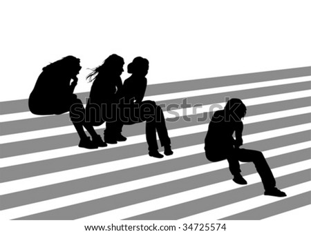 Vector drawing of people on the stairs during the holidays. Silhouettes on a white background - stock vector