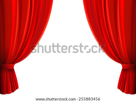 Vector Drawing Of Red Curtains