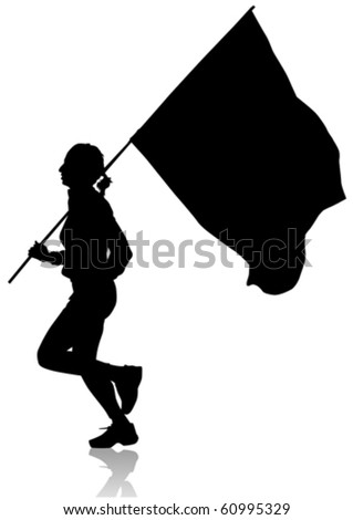 Vector drawing of running girl. Silhouettes on white background