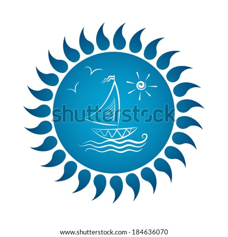 Vector drawing of sailboat on waves. Sun and gulls. - stock vector