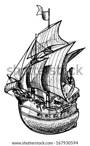 Vector drawing of sailing ship stylized as engraving. - stock vector