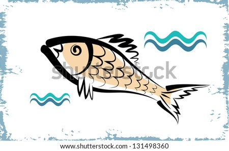 Vector drawing of the fish on white background. - stock vector