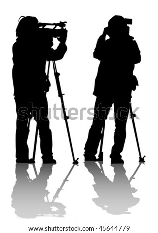 Vector drawing of the operator with a video camera. Silhouettes on white background - stock vector