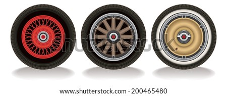Vector drawing of three styles of vintage automotive wheels.