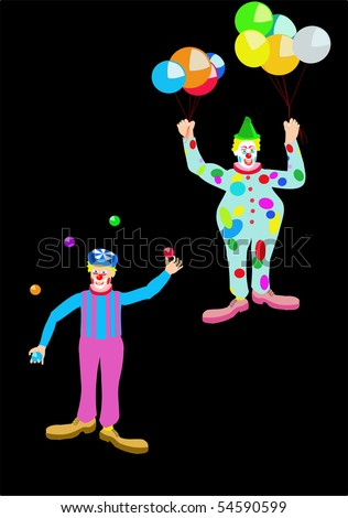 Vector drawing of two circus clowns, one juggling balls and one holding balloons, various colors, on black. - stock vector
