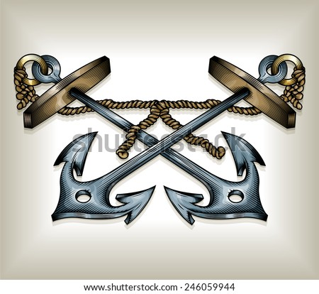 Vector drawing of two / Crossed Anchors / Easy to edit groups and layers, no meshes, effects or gradients used. Black outline stroke file looks great alone or with colour - stock vector