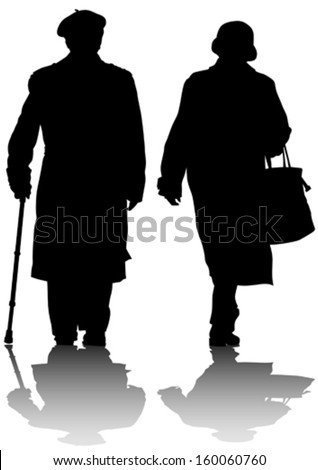 Vector drawing of two elderly people with cane - stock vector
