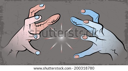 Vector drawing of two human hands. - stock vector