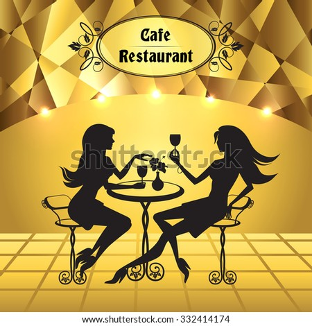 Vector drawing of two women sitting in a cafe on a gold background - stock vector