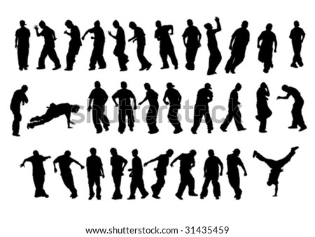 Vector drawing of young dancers. Silhouettes on a white background