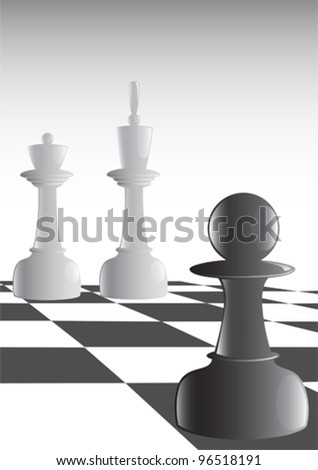 Vector drawing on theme of chess. Image of chess pieces on board
