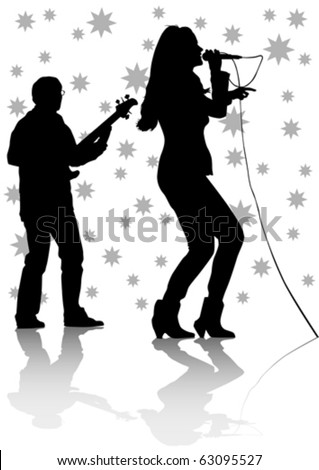 Vector drawing one girl singing with a microphone and guitarist - stock vector