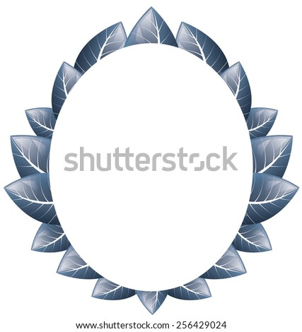Vector drawing. Oval frame of blue leaves on a white background - stock vector