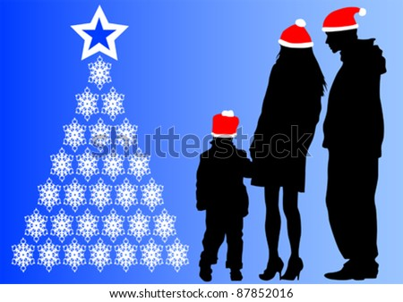 Vector drawing parents and child on holliday - stock vector