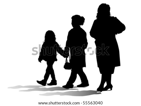 Vector drawing parents and children. Silhouettes of people