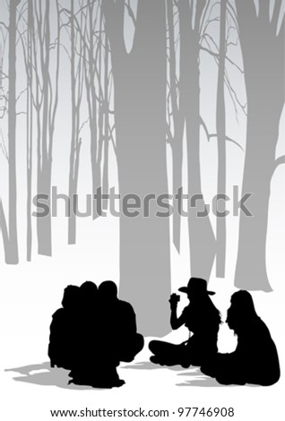 Vector drawing parents and childs in park - stock vector
