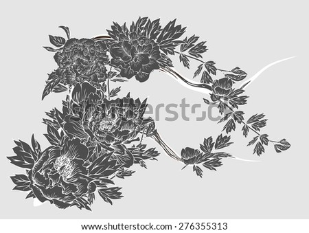 Vector drawing peony pattern  white and black for background and text