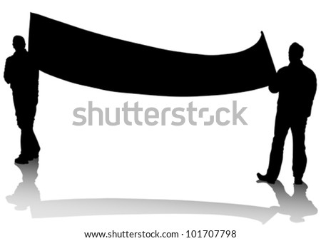 Vector drawing people with big banner - stock vector