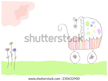 Vector drawing pram with baby girl - stock vector