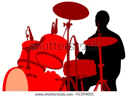Vector drawing rights for the drum set during a concert - stock vector