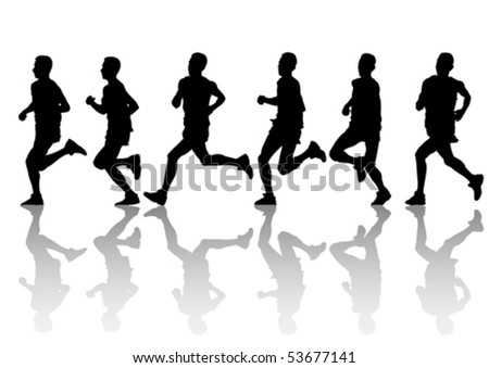 Vector Drawing Running Athlete An Silhouette Of Sports People