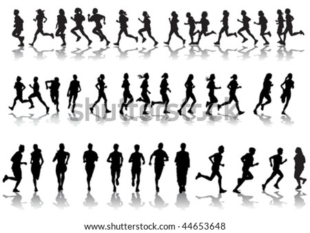 Vector drawing running athletes. Silhouettes on white background - stock vector